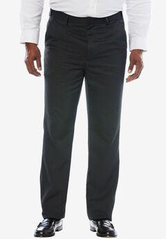 KS Signature No Hassle® Classic Fit Expandable Waist Plain Front Dress Pants, HEATHER CHARCOAL