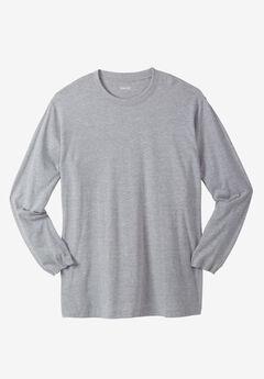 Shrink-Less™ Lightweight Long-Sleeve Crewneck Pocket Tee Shirt,