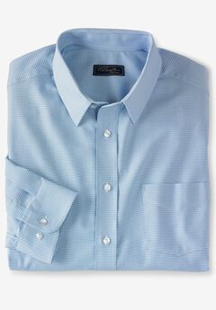 Classic Fit Broadcloth Flex Long-Sleeve Dress Shirt by KS Signature, SKY BLUE HOUNDSTOOTH
