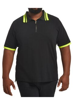 MVP Collections® Neon Stripe Collar Polo Shirt,