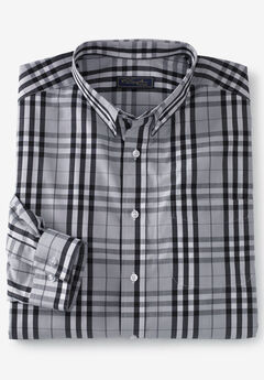 No Hassle® Long-Sleeve Button-Down Collar Dress Shirt by KS Signature®, STEEL PLAID