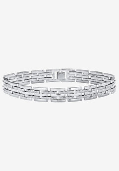 "Diamond-Accented Silver-Tone Link Bracelet 9"","