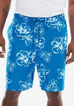 Hibiscus Print Swim Trunks, BRIGHT BLUE
