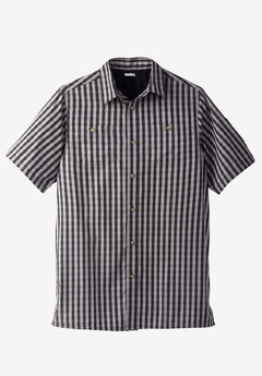Short-Sleeve Plaid Sport Shirt, BLACK CHECK