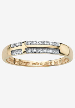 "10K Yellow Gold Diamond Accent ""Lord's Prayer"" Cross Ring,"