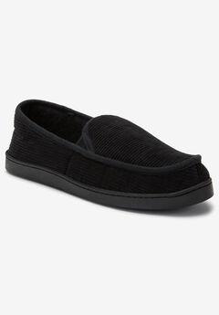Cotton Corduroy Slippers, BLACK