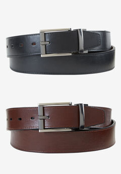 Leather Feather Edge Reversible Belt by Dockers®, BLACK BROWN