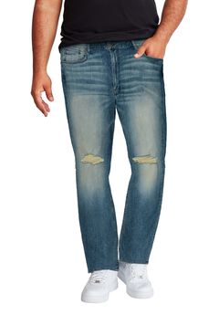 MVP Collections® Slit Knee Straight Leg Jeans,