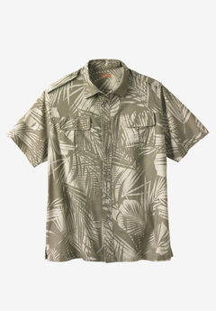 Linen Short Sleeve Pilot Shirt by Boulder Creek®, OLIVE LEAF