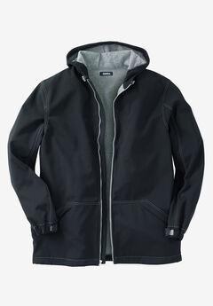 Fleece-Lined Rain Coat, BLACK