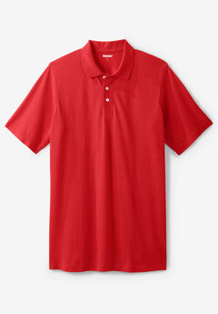 Longer-Length Piqué Polo Shirt, TRUE RED