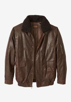 Leather Flight Bomber Jacket, CHOCOLATE