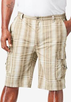 """10"""" Cargo Shorts, DARK KHAKI PLAID"""