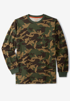 Boulder Creek® Heavyweight Crewneck Long-Sleeve Pocket T-Shirt, OLIVE CAMO