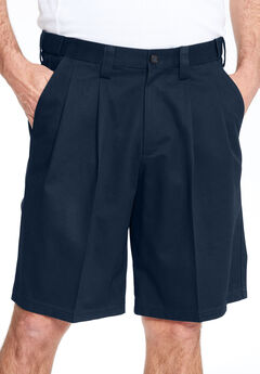 Classic Fit Wrinkle-Free Expandable Waist Pleat Front Shorts,