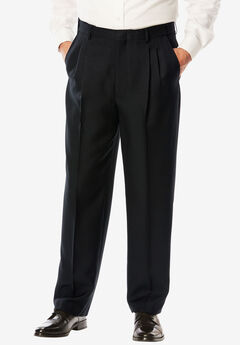 Easy-Care Signature Fit Expandable Waist Pleat Front Dress Pants,