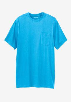 Lightweight Longer-Length Crewneck Pocket T-Shirt, ELECTRIC TURQUOISE