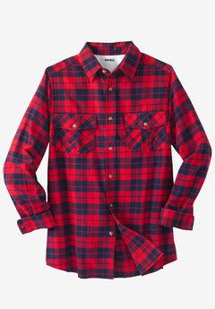 Plaid Flannel Shirt, TRUE RED PLAID