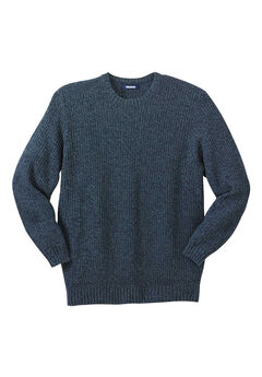 Knit Crewneck Sweater, NAVY MARL