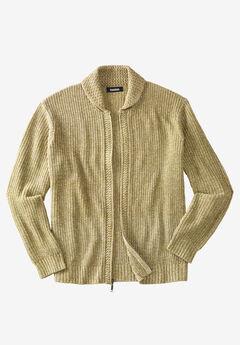 Shaker Knit Zip-Front Cardigan, KHAKI MARL