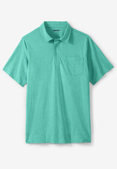 Lightweight Polo T-Shirt, TIDAL GREEN HEATHER