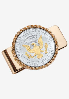 Goldtone Money Clip Round with Genuine Silver Coin,