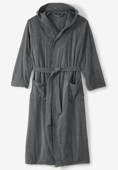 Terry Velour Hooded Maxi Robe, GREY