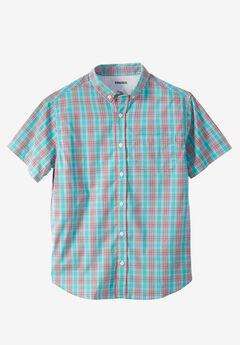 Short Sleeve Performance Sport Shirt, GREEN PLAID