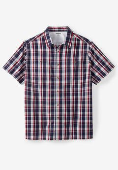 Short-Sleeve Plaid Sport Shirt, NAVY PLAID