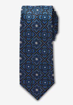 KS Signature Extra Long Classic Fancy Tie, DARK BLUE MEDALLION