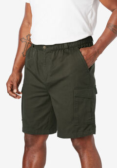 "Boulder Creek® 9"" Full Elastic Waist Single Pocket Cargo Shorts, FOREST GREEN"