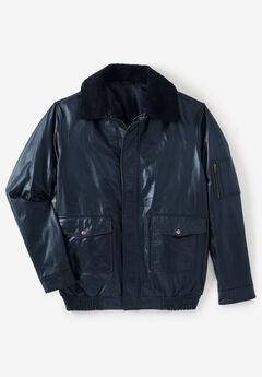 Leather Flight Bomber Jacket, BLACK