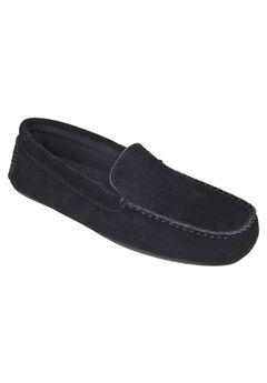 L.B. Evans Darren Suede Moccasin Slippers, BLACK