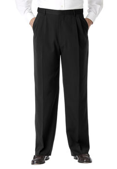 KS Signature No Hassle® Classic Fit Expandable Waist Double-Pleat Dress Pants, BLACK