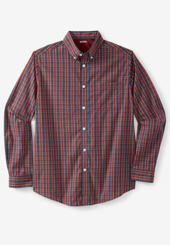 Wrinkle-Resistant Plaid Shirt, RED CHECK