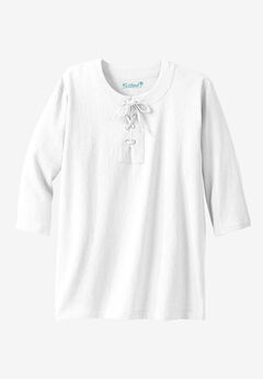 Gauze Lace-Up Shirt, WHITE