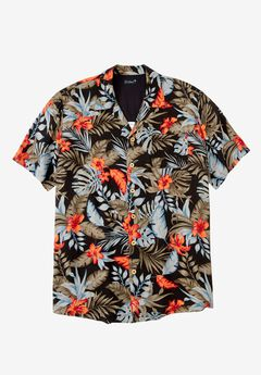 KS Island™ Tropical Caribbean Camp Shirt, BLACK FLORAL