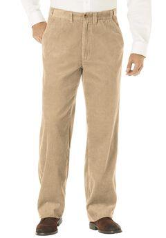 Six-Wale Corduroy Plain Front Pants, KHAKI