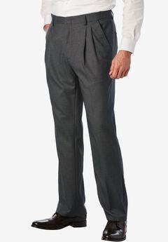 Easy-Care Classic Fit Expandable Waist Double-Pleat Front Dress Pants, GREY