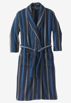 Terry Bathrobe with Pockets, NAVY STRIPE