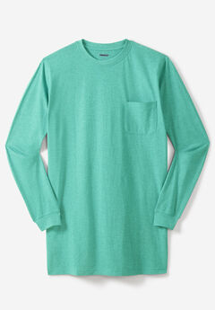 Lightweight Longer-Length Long-Sleeve Crewneck Pocket Tee,