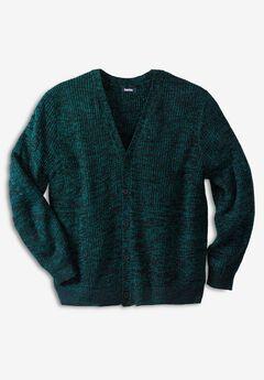 Shaker Knit V-Neck Cardigan Sweater, MIDNIGHT TEAL MARL