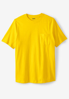 Shrink-Less™ Lightweight Pocket Crewneck T-Shirt, CYBER YELLOW