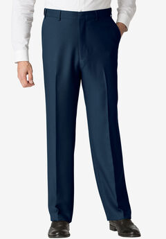 Easy-Care Classic Fit Expandable Waist Plain Front Dress Pants, NAVY