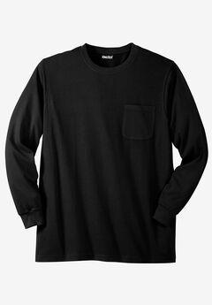 Shrink-Less™ Lightweight Long-Sleeve Crewneck Pocket T-Shirt,