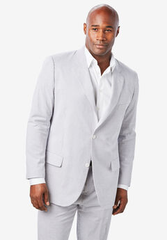 KS Island™ Linen Blend Two-Button Suit Jacket, GREY STRIPE SEERSUCKER
