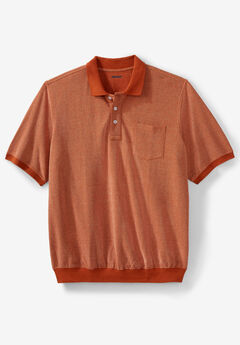 Banded Bottom Pocket Piqué Polo Shirt, DARK ORANGE BIRDSEYE