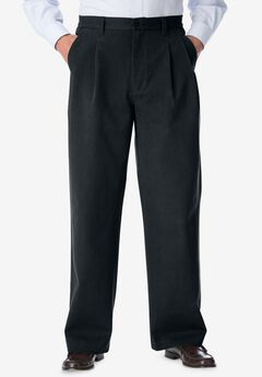 WRINKLE-RESISTANT DOUBLE-PLEAT PANT WITH SIDE ELASTIC WAIST,