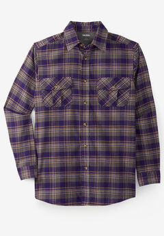 Plaid Flannel Shirt, DARK PURPLE PLAID