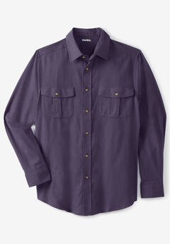 Solid Double-Brushed Flannel Shirt, DARK PURPLE
